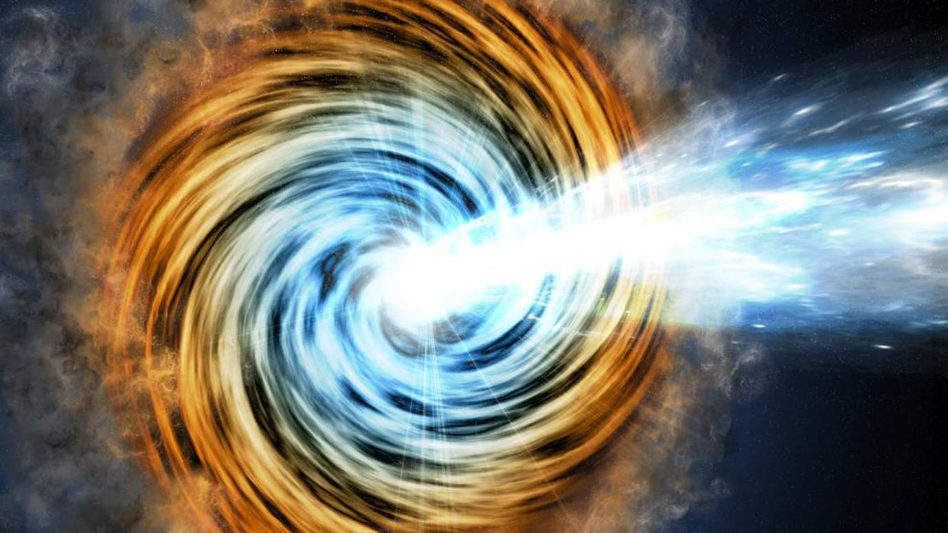 This artist's conception shows a blazar, the core of an active galaxy powered by a supermassive black hole. Scientists recently used VERITAS to detect gamma rays from the blazar TXS 0506+056, which is also thought to be a source of neutrinos.