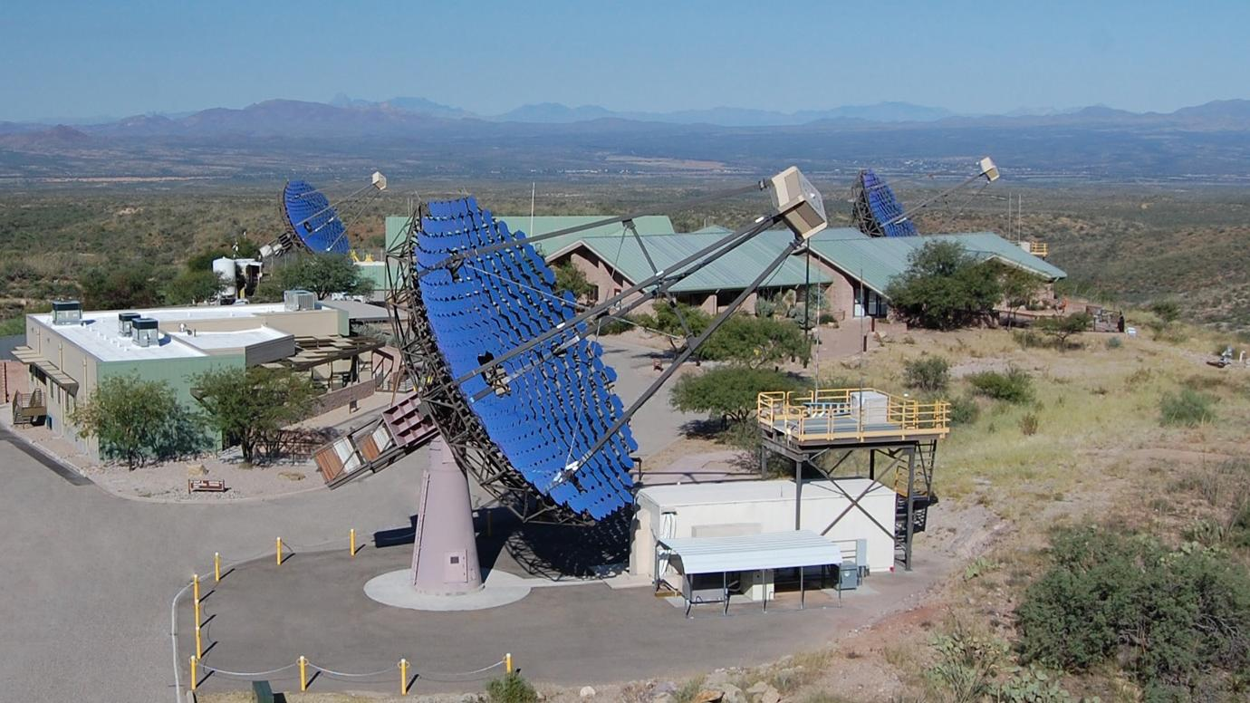 This photograph shows the 3 of the 4 telescopes of the Very Energetic Radiation Imaging Telescope Array System (VERITAS), located in southern Arizona.